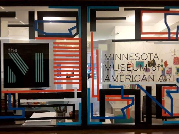 A portion of a tape installation on the windows of the Minnesota Museum of American Art in St. Paul. (Courtesy of the Minnesota Museum of American Art)