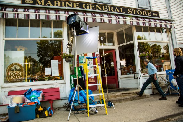 "USE THIS ONE PLEASE -- Actor Bruce Bohne walks onto the set during the filming of ""The Wagon"" at the Marine General Store in Marine On St. Croix on Tuesday, Sept. 12, 2017. Gayle Knutson is producing and directing the short film, currently filming in the Marine on St. Croix area. It will premiere in Minnesota in early 2018. (Courtesy of Monte Swann)"