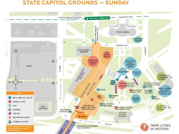Map of the Twin Cities marathon finish line