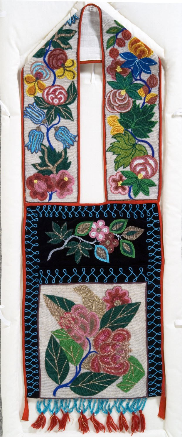 Marcia Anderson's favorite gashkibidaagan in the Minnesota Historical Society collection, housed at the Minnesota History Center. Three folded-leaf motifs, which may have originated at Red Lake, are featured in this bag's pocket panel. Collected by Bishop Henry Whipple before 1901. (Courtesy of Minnesota Historical Society Press)