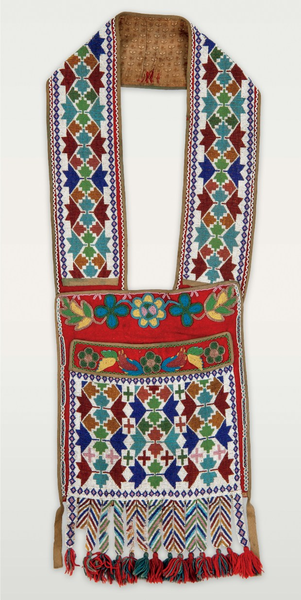 Loom-woven bag with small repeating geometric forms, from the last third of the 19th century. (Courtesy of Minnesota Historical Society Press)