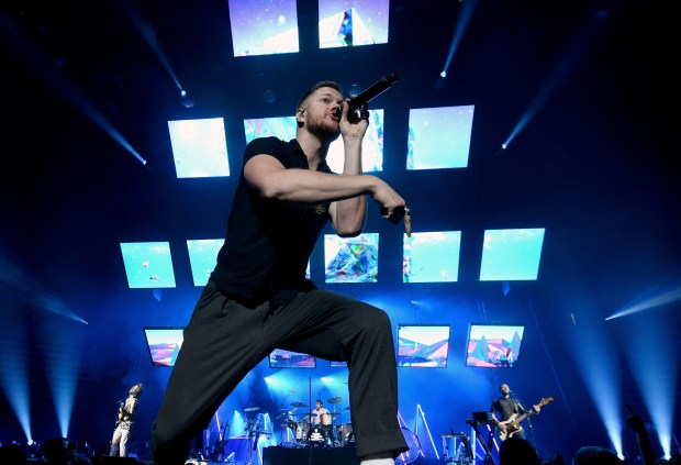 Frontman Dan Reynolds of Imagine Dragons performs during a stop of the band's Evolve World Tour at T-Mobile Arena on September 29, 2017 in Las Vegas, Nevada. (Photo by Ethan Miller/Getty Images)