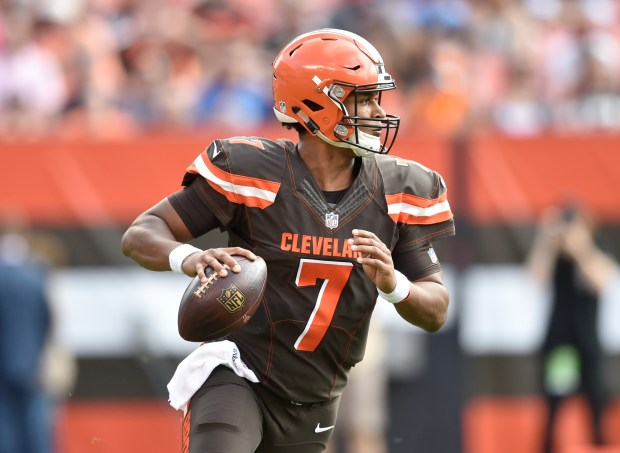 Cleveland Browns quarterback DeShone Kizer (7) looks to pass during an NFL football game against the Tennessee Titans, Sunday, Oct. 22, 2017, in Cleveland. The Titans won 12-9 in overtime. (AP Photo/David Richard)