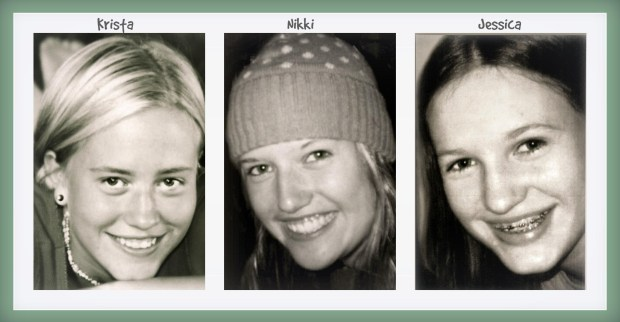 "From left, Krista, Nikki and Jessica Mayer. Their mother, Debbie Mayer, has written a book, ""After the Crash,"" as a way to deal with the death of her three daughters, who were killed in a car accident on New Year's Day. 2004. (Courtesy of Debbie Mayer)"