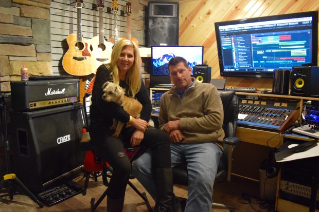 Chris and Kate Shermach in their recording studio at their home in Osceola, Wis. (Lauren Otto / Pioneer Press)