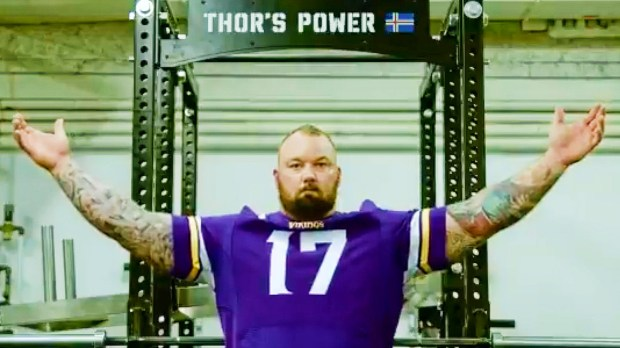 512e51999 Game of Thrones star Thor Bjornsson will lead the Skol Chant and sound the  ghallahorn as