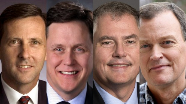 From left, former Republican Party chair Keith Downey, state Rep. Matt Dean, state Sen. Dave Osmek, and Hennepin County Commissioner Jeff Johnson (Submitted photos)