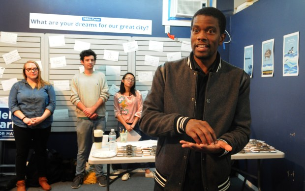 Melvin Carter, mayoral candidate for St. Paul, joined volunteers with his campaign at his headquarters at 1250 West 7th Street on Saturday, Oct. 21, 2017 for a meeting to discuss the city's vision, and kick off his Saturday door knock with campaign volunteers for his campaigns GOTV Weekend of Action. Afterwards he participated in calling St. Paul voters to introduce himself and encourage them to vote for him for St. Paul's next mayor. (Ginger Pinson / Pioneer Press)