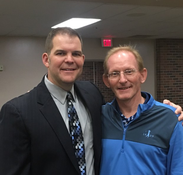 Pictured alongside South St Paul athletic director Chad Sexauer in May after receiving the Packer Fan of the Year award, South St Paulteacher, coach and football public address announcer Craig Felton 52, died Saturday after a bout with liver cancer. (Courtesy of Chad Sexauer)