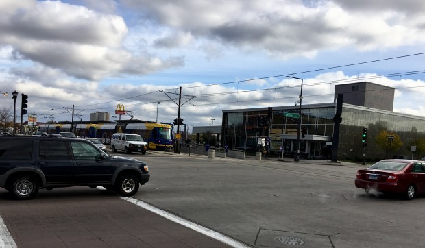 The intersection between Snelling Avenue and University Avenue West had five injuries from 2011 to 2015 between motor vehicles and pedestrians or bicyclists. (S. M. Chavey / Pioneer Press)