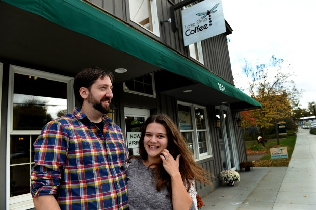 Paul and Sarah Marshall at Lake Elmo Coffee on Thursday, Oct. 12, 2017. The city has spent millions to attract new businesses to the historic downtown area, and this coffee shop is the first retail business, and a sign that the strategy is working. Paul and Sarah are co-owners along with Sarah's parents, Bill and Sue Lockwood. (Jean Pieri / Pioneer Press)
