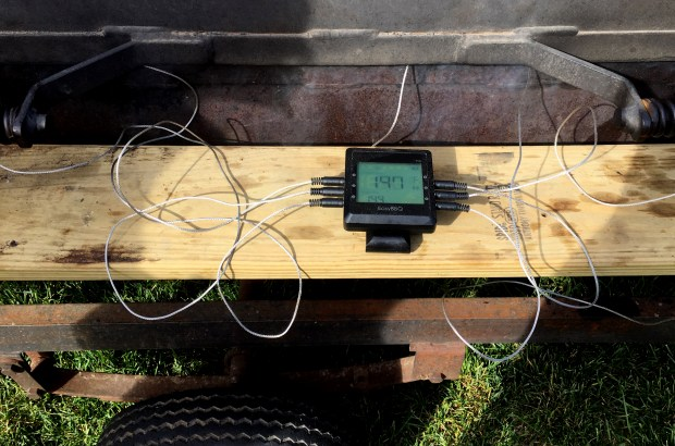 A six-prong temperature probe kept track of the pig's internal temperature during the pig roast in Cottage Grove on Saturday, Sept. 30, 2017. (Pioneer Press / Jessica Fleming)