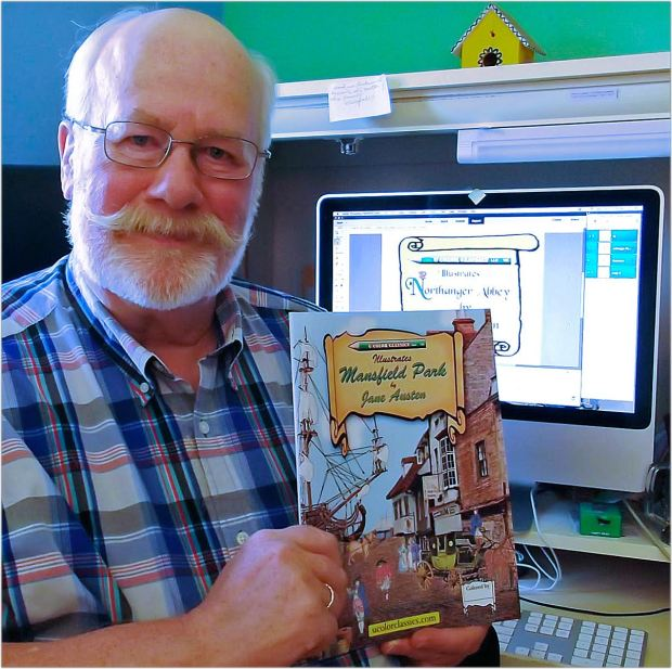 Rick Taft , 71, of Woodbury, is creating a series of six coloring books to illustrate Jane Austen's novels. More info at Ucolorclassics.com.Credit: Ginny Taft