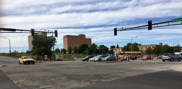 The intersection between Lexington Avenue North and Concordia Avenue had eight injuries from 2011 to 2015 between motor vehicles and pedestrians or bicyclists. (S. M. Chavey / Pioneer Press)