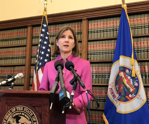 Minnesota Attorney General Lori Swanson announces the state is suing the Trump administration over health insurance payments during a news conference in St. Paul on Friday, Oct. 13, 2017. (Rachel Stassen-Berger / Pioneer Press)