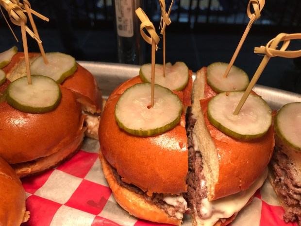 The Parlour Burger from the Borough/Parlour restaurant team in Minneapolis will be among the new concessions at Target Center. The new foods were unveiled Tuesday, Oct. 10, 2017. (Pioneer Press / Nancy Ngo)