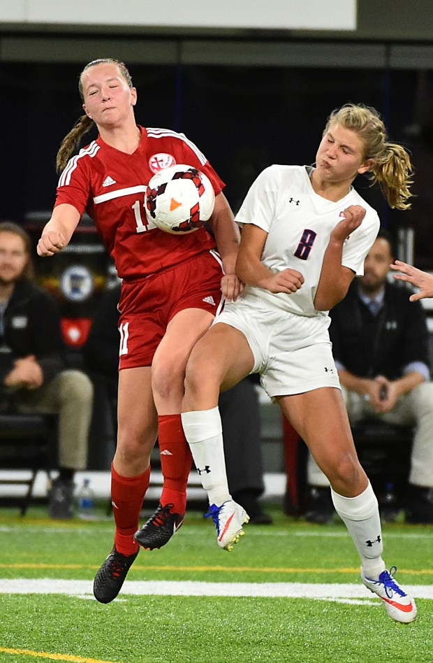 Visitation forward Meredith Killian, left, and Orono defender Emma Kosek collide as they make a play for the ball in the second half of a Class A semifinal game of the State Girls Soccer Tournament at U.S. Bank Stadium in Minneapolis, Monday Oct 30, 2017. Orono beat Visitation, 1-0. (John Autey / Special to the Pioneer Press)