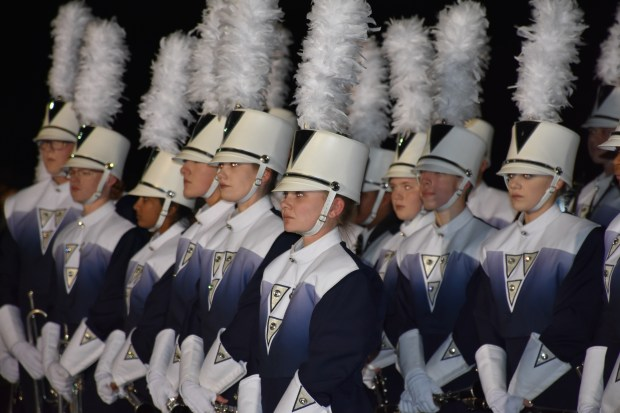 Members of the Rosemount Marching Band line up at a send off Saturday, Nov. 18, 2017, before they depart for the Macy's Thanksgiving Day Parade in New York City. (Deanna Weniger / Pioneer Press)