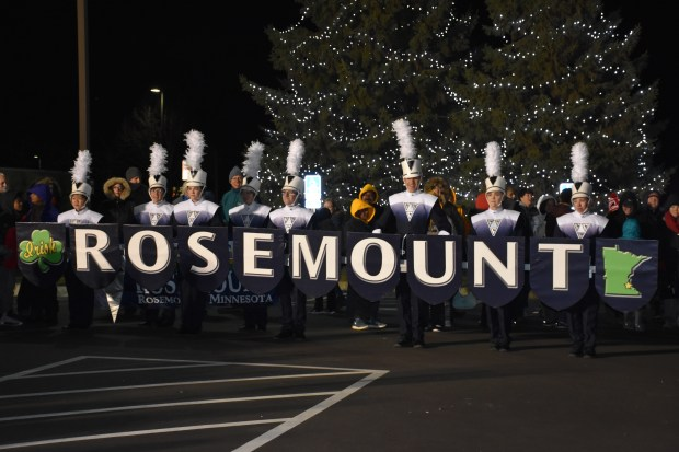 The Rosemount Marching Band gives community members a sneak peek of the gear they'll carry in the 2017 Macy's Thanksgiving Day Parade. (Deanna Weniger / Pioneer Press)