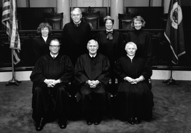 """Members of the Minnesota Supreme Court in a 1991 photo are, front row, from left: Lawrence Yetka, Alexander """"Sandy"""" Keith and Rosalie Wahl.  Back row, from left: Esther Tomljanovich, John Simonett, Mary Jeanne Coyne and Sandra Gardebring. (AP Photo/Minnesota Supreme Court)"""