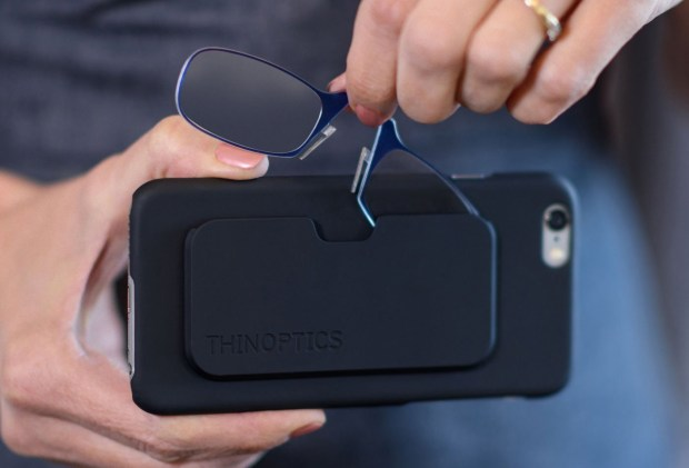 ThinOptics phone case with built-in reading-glasses slipcase