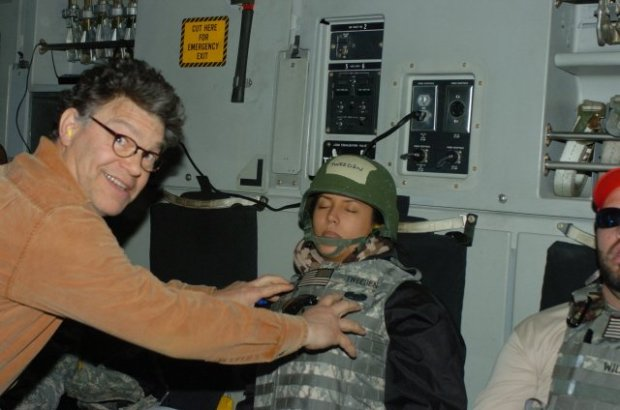 California radio news anchor Leeann Tweeden posted this of photo from 2006 of now-Sen. Al Franken along with an essay describing non-consensual kissing and groping by Franken.