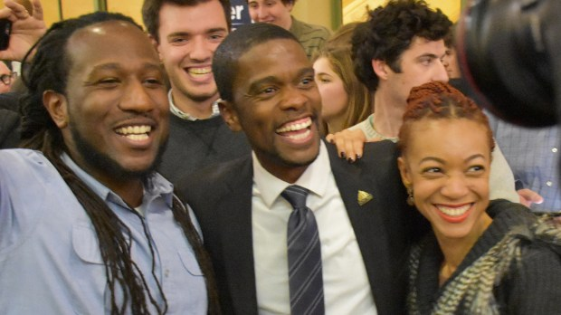 Melvin Carter, the newly elected St. Paul mayor, celebrates his victory with his supporters at Union Depot on Tuesday night, Nov. 7, 2017. (Pioneer Press / Nick Woltman)