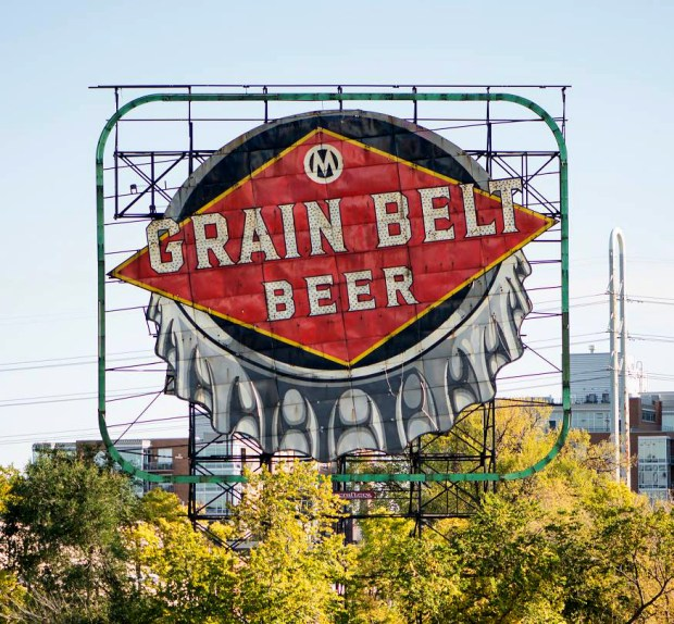 Undated courtesy photo of the the Grain Belt Beer sign on Nicollet Island in Minneapolis. The sign, now owned by August Schell Brewing Company, will be lit up again on Dec. 30, 2017, the company announced in a Facebook post on Nov. 25. (Courtesy of the August Schell Brewing Company)