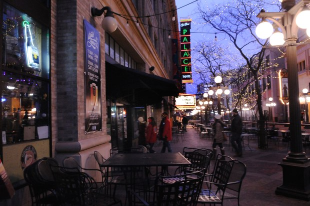 St. Paul bar Wild Tymes, foreground, will reopen under a new name next year operated by First Avenue, which also operates the Palace Theatre next door. (Ginger Pinson / Pioneer Press)
