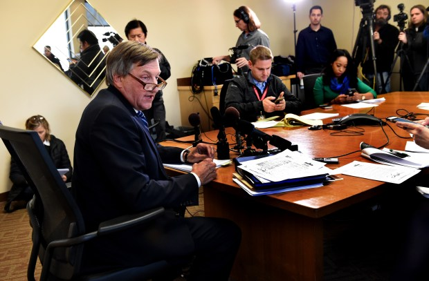 Paul Rogosheske, the lawyer of State Sen. Dan Schoen, DFL-Cottage Grove, announces Schoen's resignation and answers questions at a press conference in his law office in South St. Paul Wednesday, Nov. 22, 2017. (Jean Pieri / Pioneer Press)