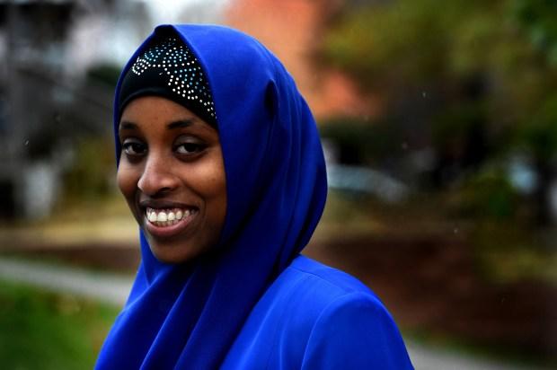 Asia Mohamed, of St. Paul, is an Optimist Club of St. Paul winner of a college scholarship, Thursday, Nov. 3, 2017. (Jean Pieri / Pioneer Press)