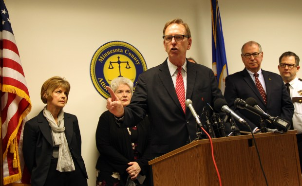 Washington County Attorney Pete Orput discusses lawsuits against opioid manufactures and distributors that are expected to be filed across Minnesota in the coming months at a news conference Thursday, Nov. 30, 2017 in St. Paul. Statewide, county attorneys are seeking damages and better oversight to combat the growing opioid crisis. (Christopher Magan / Pioneer Press)