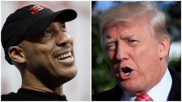 LaVar Ball, left, and Donald Trump. (AP Photo/John Locher, AP Photo/Manuel Balce Ceneta)