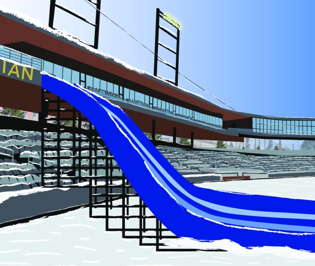 A giant snow slide at CHS Field will be among the St. Paul attractions leading up to Super Bowl 52 in February, officials with Visit St. Paul announced Thursday, Nov. 30, 2017, at CHS Field. (Image courtesy of Visit St. Paul)