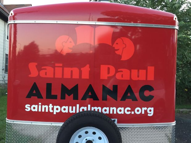 St. Paul Almanac's 14-foot trailer, containing its Storymobile, was stolen early morning Tuesday, Nov. 21, 2017. (Photo courtesy of St. Paul Almanac.)