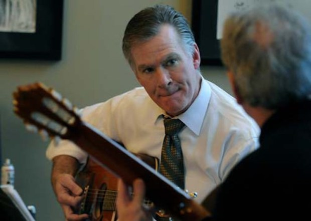 "St. Paul Mayor Chris Coleman tries to keep up with Jack McNally, president of the McNally School of Music and Coleman's guitar instructor, as they play ""The Last Steam Engine Traiin,"" by John Fahey, during a lesson in McNally's office in St. Paul on Wednesday December 9, 2009. (Pioneer Press: Richard Marshall)"