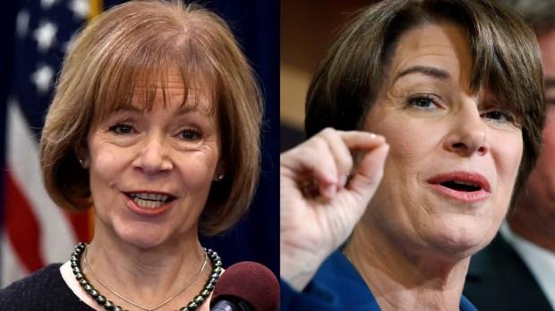 Senate appointee Tina Smith, left, and Sen. Amy Klobuchar (Pioneer Press photos)