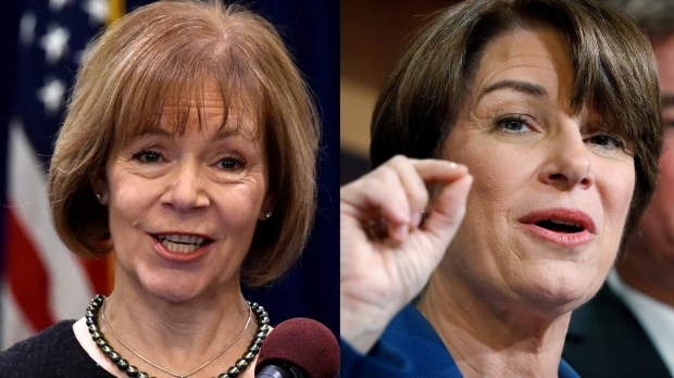 Senate appointee Tina Smith, left, and Sen. Amy Klobuchar (Pioneer Press photos)