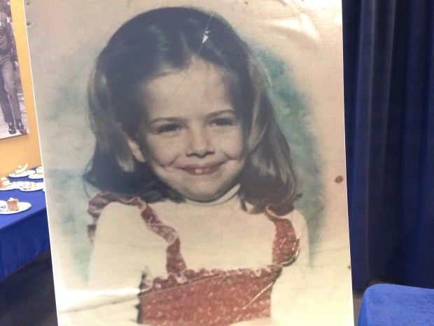 A photo of 6-year-old Cassie Hansen, who was kidnapped and murdered in St. Paul in 1981, was displayed during a ceremony in St. Paul on Wednesday, Dec. 13, 2017. The police department honored a key witness and three retired officers. (Pioneer Press / Mara H. Gottfried)