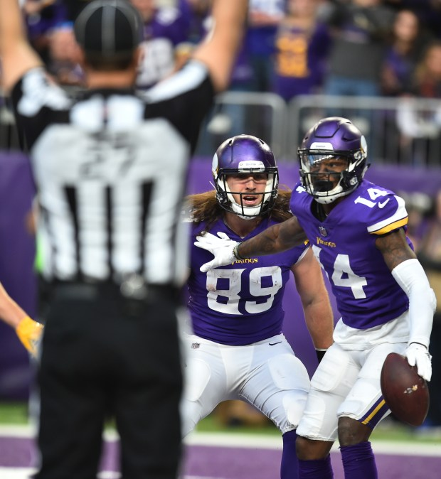 Minnesota Vikings wide receiver Stefon Diggs looks for the call after catching a touchdown against the Chicago Bears in the third quarter of a NFL Football game at U.S. Bank stadium on Sunday, Dec. 31, 2017. The Vikings beat Chicago, 23-10 to finish the season 13-3 and earn a first round bye in the playoffs. (Pioneer Press / John Autey)