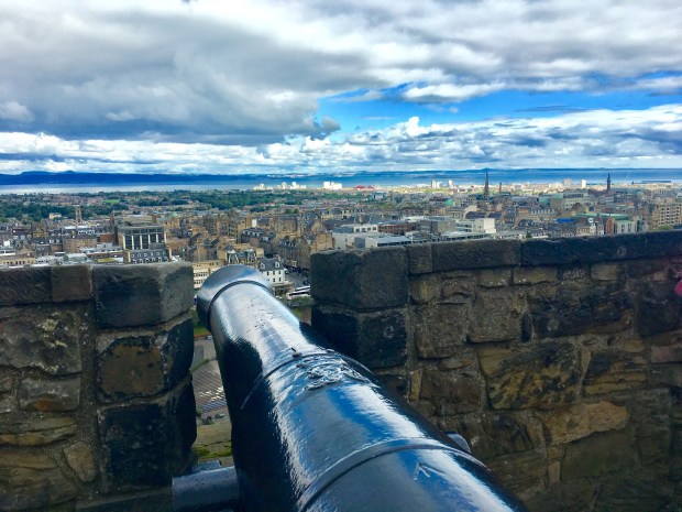 Just a cannonball's throw away, the city of Edinburgh, Scotland, stretches toward the Firth of Forth, a blue streak in the distance. (Tom Shroder / Special to the Washington Post)