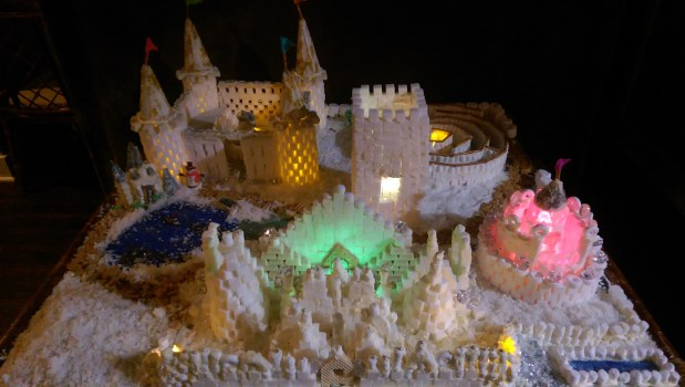 """Sara Fifer and Veronic Starzinski, both of of St. Paul, made this piece, titled """"St. Paul Suites Palace."""" The two used more than 2,500 sugar cubes over 23 hours to make their creation. (Courtesy of Fifer/Starzinski)"""
