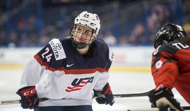 United States' Amanda Kessel prepares for a face off during the second period of the Four Nations Cup championship hockey game against Canada in Tampa, Fla., Sunday, Nov. 12, 2017. (AP Photo/Willie J. Allen Jr.)