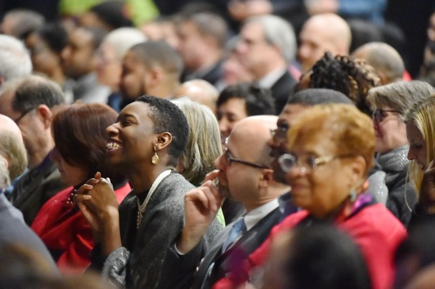 "Kaade Williams of Brooklyn Park reacts joyfully to spoken word artist Tou SaiKo Lee during the inauguration of St. Paul Mayor Melvin Carter III at Central High School in St. Paul on Tuesday, Jan. 2, 2018. Williams, who said she was born and raised in St. Paul, attended the event ""just to see this historic moment."" (Pioneer Press / John Autey)"