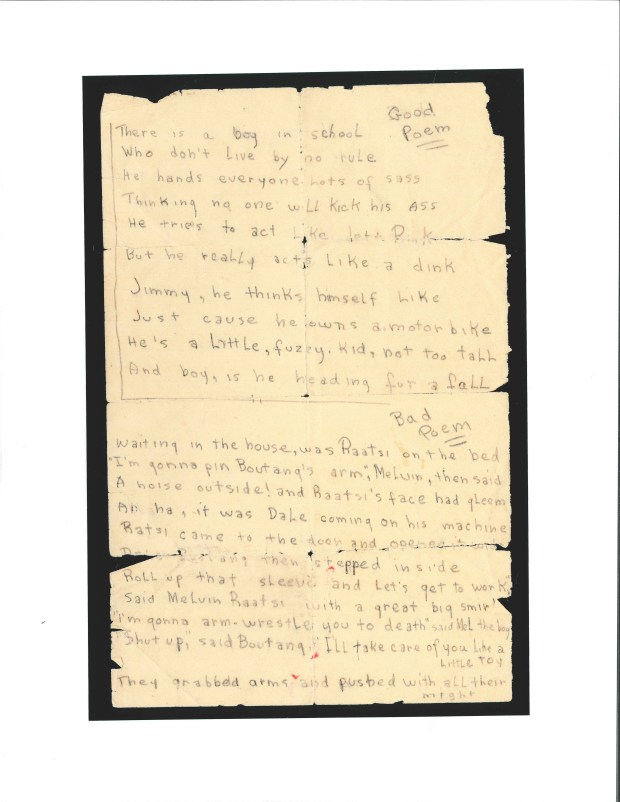 The first of two pages of handwritten poetry penned by a teenage Bob Dylan. Dating to around 1956, it's the earliest known example of Dylan's writing. (Courtesy of the Minnesota Historical Society)