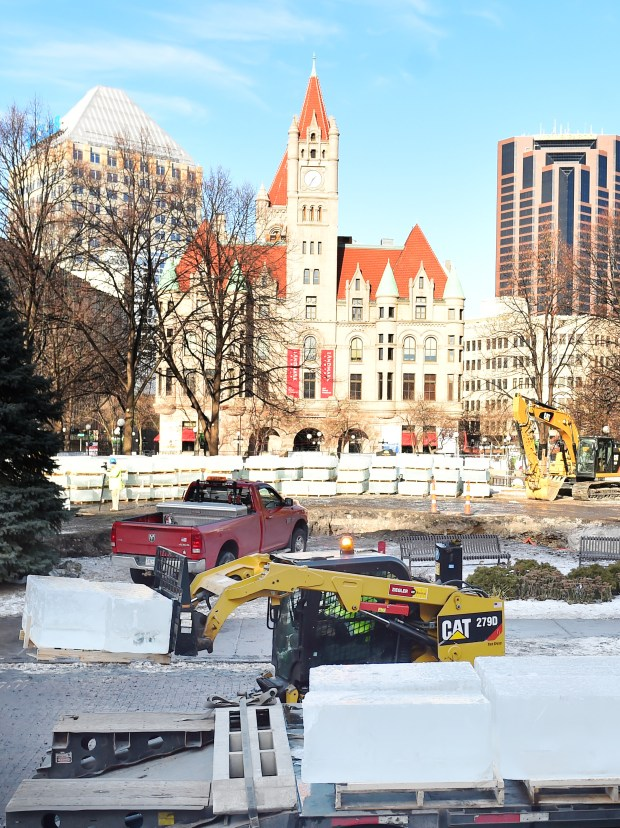 Trees being cut down in rice park but it s not to make for Ice block construction