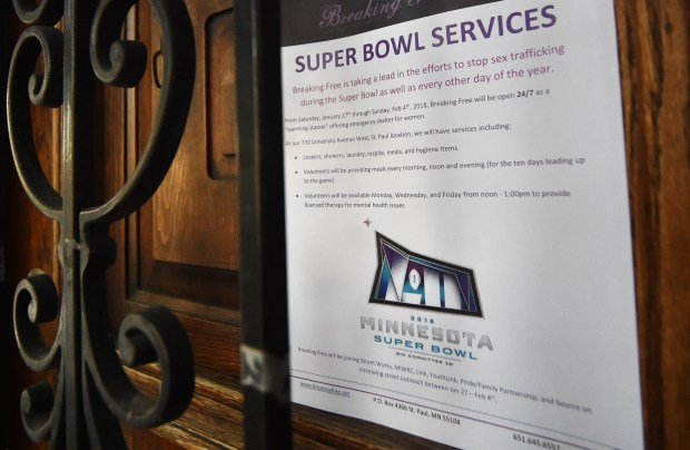 A sign on the door at the Breaking Free offices in St. Paul details the steps the group is undertaking for the Super Bowl on Friday, Jan. 19, 2018. The organization, which helps sex workers move away from the that industry, is preparing for increased needs and outreach while the NFL Super Bowl is in Minneapolis. (John Autey / Pioneer Press)