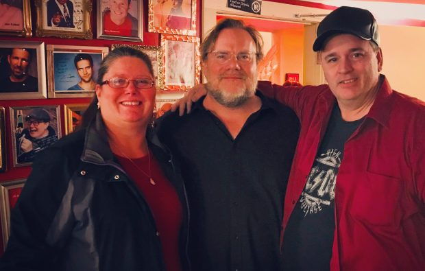Comedian Kevin Farley (center) with audience members Tammira Bauer and John Sharp at Joke Joint Comedy Club in Lilydale on Saturday, Jan. 27, 2018. (Courtesy John Sharp)