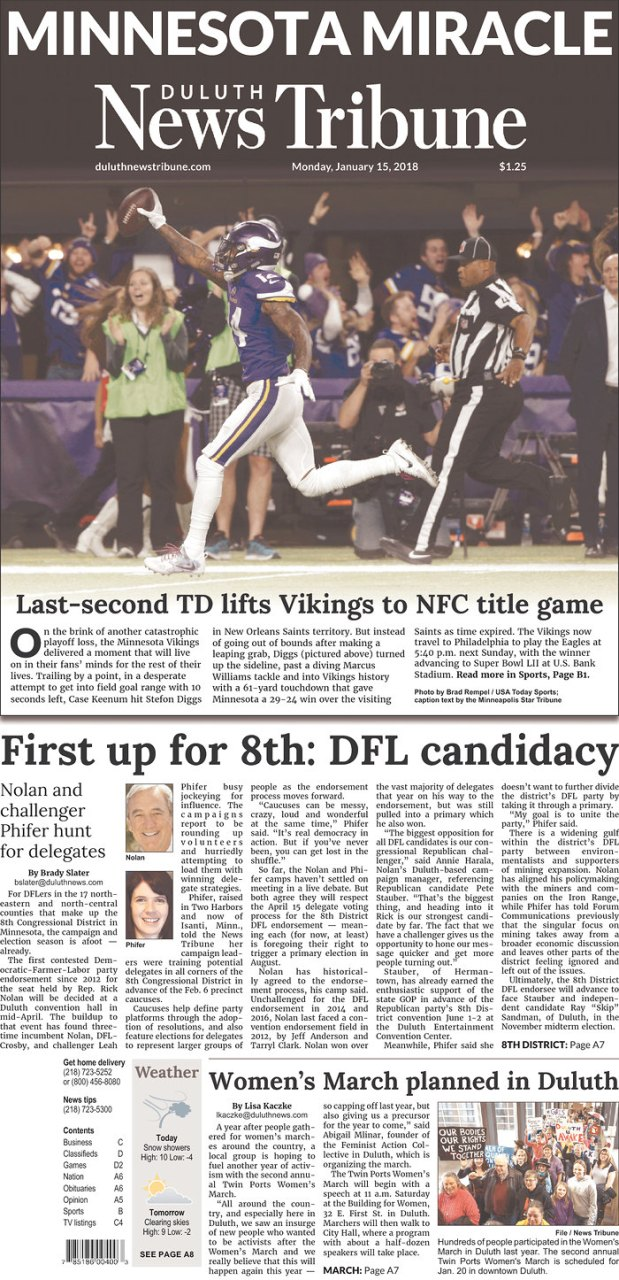 Duluth News Tribune Vikings front page