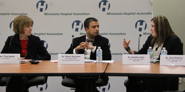 Sen. Tina Smith, Dr. Rahul Koranne and Dr. Heather Bell discuss the state's response to the opioid crisis Friday, Jan. 12, 2018, during a roundtable hosted by the Minnesota Hospital Association. (Christopher Magan / Pioneer Press)